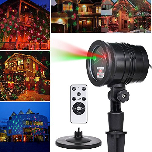 LEVUSU Remote Christmas Laser Lights Projector Aluminum Outdoor IP65 Waterproof Laser Lamp Red and Green Star Laser Show for Xmas Party Holiday Wedding Landscape and Garden Decoration Black