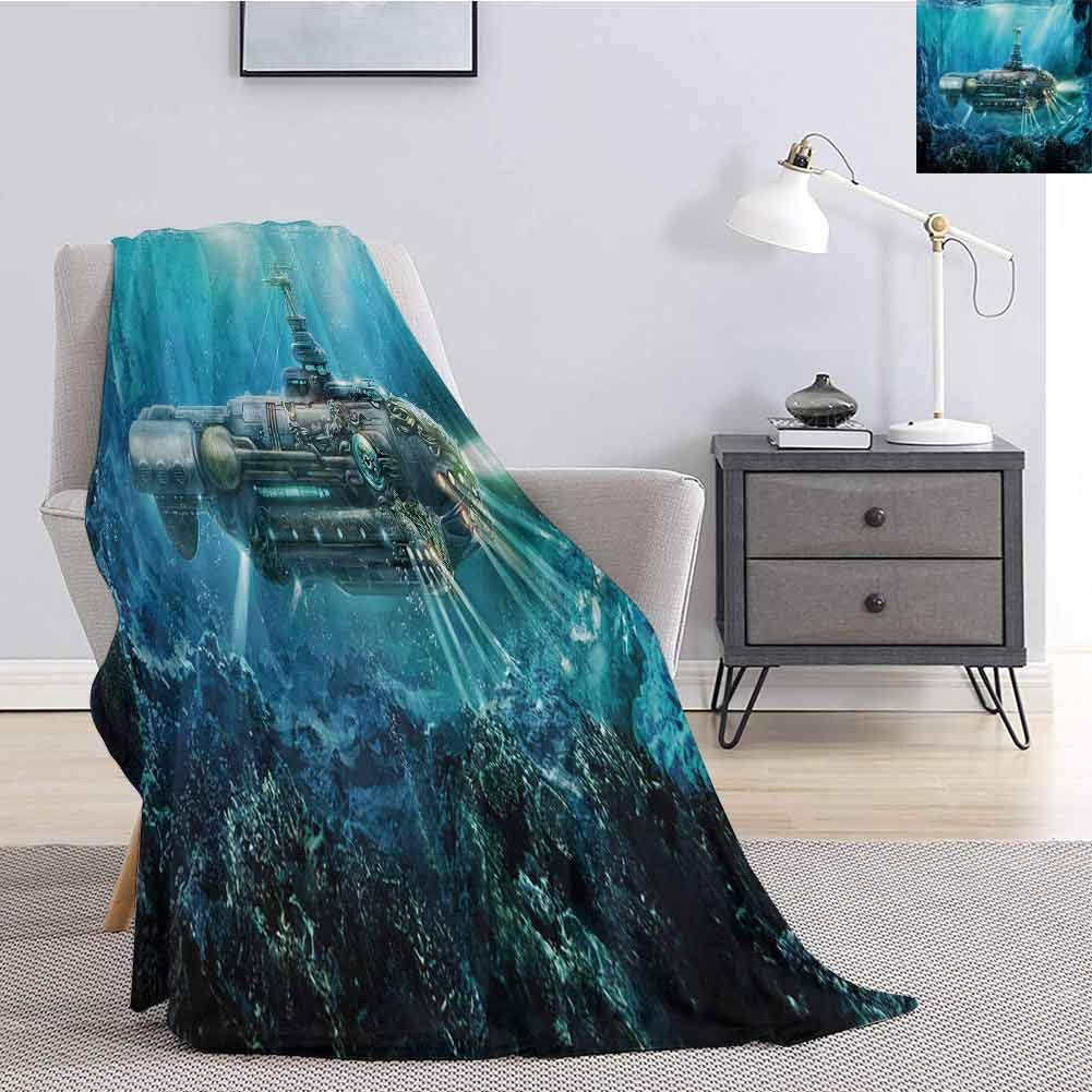 Luoiaax Fantasy Faux Fleece Throw Blanket Science Fiction Inspired Submarine Underwater Futuristic Digital Illustration Fluffy Decorative Blanket for Couch W60 x L80 Inch Silver and Aqua