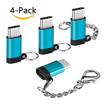 SKYEE Adaptador USB C a Micro USB con Llavero, [4 Unidades] in Aluminio Conectores USB Tipo C con OTG para Samsung Galaxy S9/S8, Huawei P20, MacBook ...