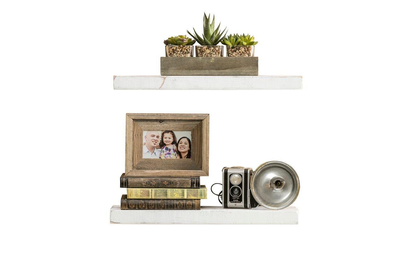 del Hutson Designs Rustic Pine Floating Shelves White, 24 Inch