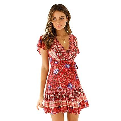 c4a805814c 2019 Spring and Summer The New Dress Female Bohemia Beach Vacation Style  Short Sleeve Deep V