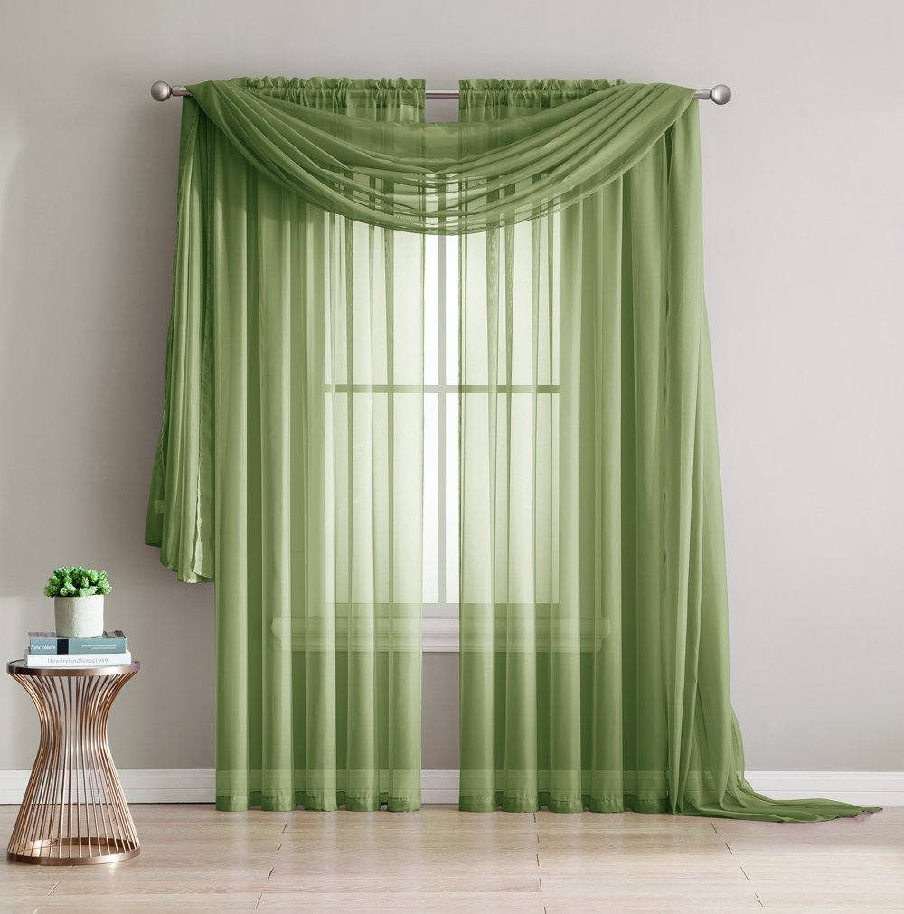 2-Piece Rod Pocket Sheer Panel Curtains Fabric Sheer - Voile Curtains for Window Treatment - Natural Light Flow Sage