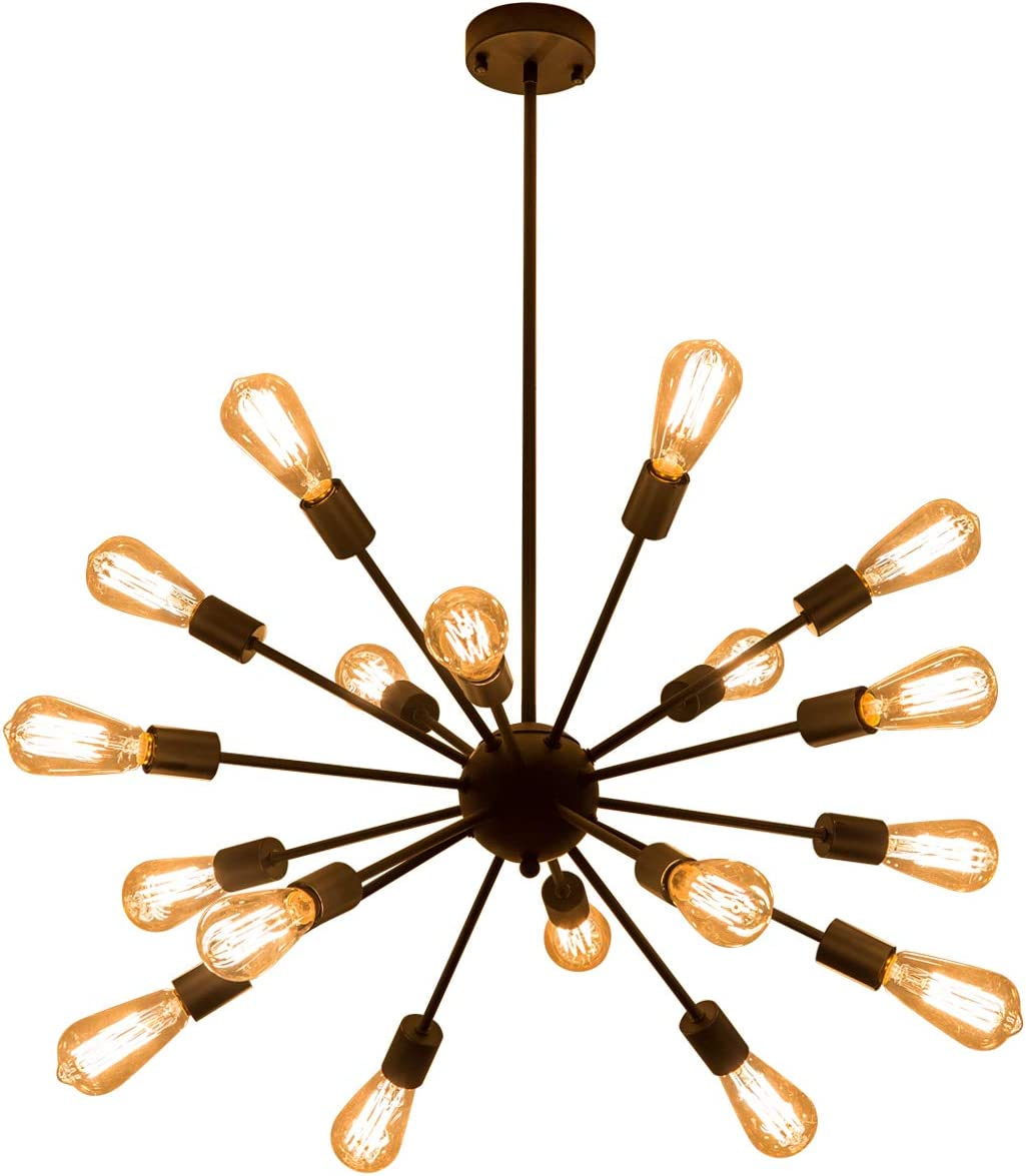 Weesalife Pendant Light Sputnik 18-Lights Chandeliers Matte Black Adjustable Industrial Retro Hanging Light Fixture for Living Room, Dining Room, Kitchen, Loft, Farmhouse, Sloped Ceiling