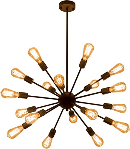 Weesalife Pendant Light Sputnik 18-Lights Chandeliers Matte Black Adjustable Industrial Retro Hanging Light Fixture