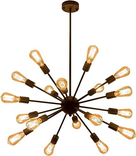 Weesalife Pendant Light Sputnik 18-Lights Chandeliers Matte Black Adjustable Industrial Retro Hanging Light Fixture
