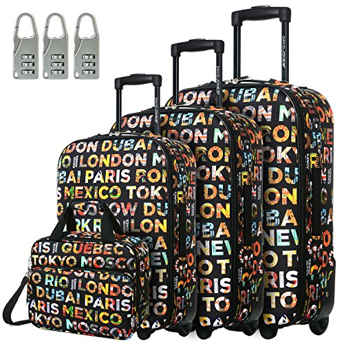 DAVIDJONES Vintage Print 4 Piece Luggage Set-Lettre capitales by David Jones