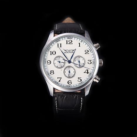 RavTech(TM)Black White Jaragar Automatic Mechanical Analog Black Dial 6 Hands Men Watches
