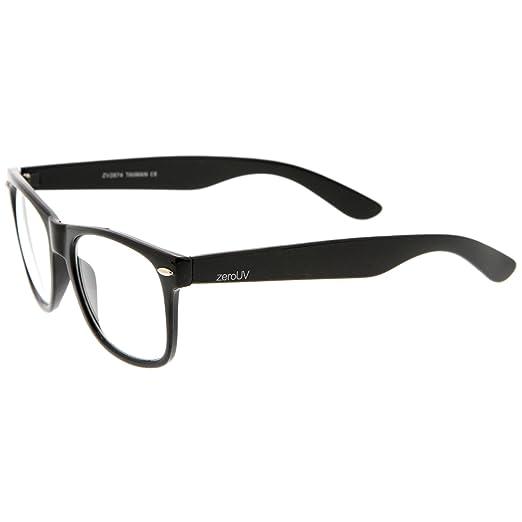 90afd6e7ea Amazon.com  zeroUV - Retro Wide Arm Square Clear Lens Horn Rimmed Eyeglasses  54mm (Black Clear)  Clothing