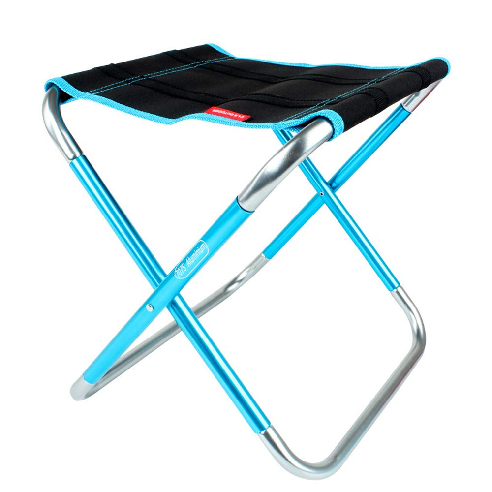 Spubote Outdoor Folding Stool Camping Lightweight Portable Chair to Carry Mini Aluminum Folding Sturdy Stool Beach,600D Oxford Cloth with Carry Bag (Blue(Big Size))