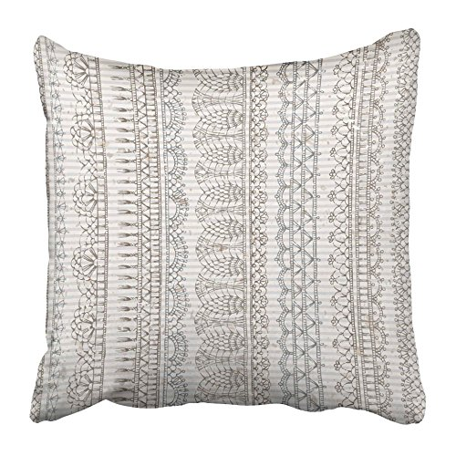 Emvency Decorative Throw Pillow Covers Cases Border Vintage Crochet Sketch Boundless Knitted Lacy Edgings on Old Striped Blot Contour Crafts 16x16 inches Pillowcases Case Cover Cushion Two -