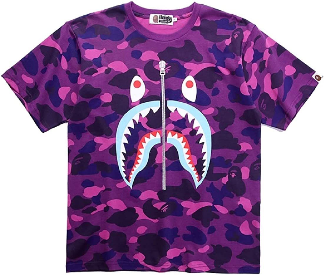 Big Mouth Shark Ape Bape Camo Casual T Shirt Tees Unisex with Round Neck Short Sleeve