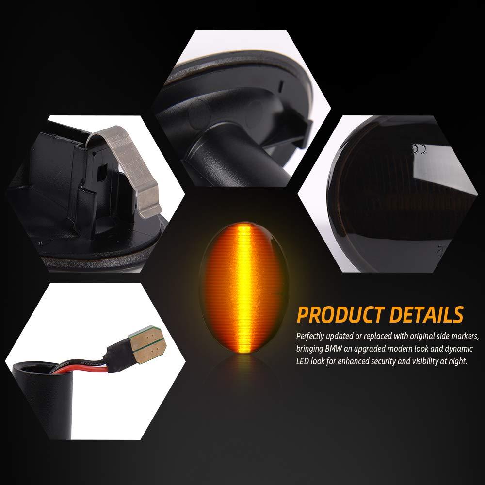 2 pezzi LED Indicatori di Direzione per B-M-W Mini Cooper 2007-2013 R56 R57 R57 R58 R59 Indicatori di Direzione Laterali Nero Affumicato Lente Ambra Dinamica Lampeggianti Luce
