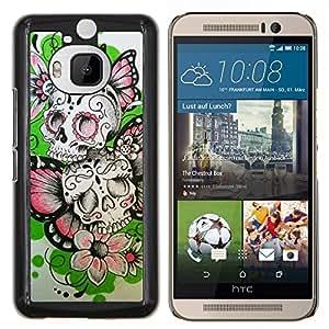 """Be-Star Único Patrón Plástico Duro Fundas Cover Cubre Hard Case Cover Para HTC One M9+ / M9 Plus (Not M9) ( Las flores de mariposa de primavera cráneo del motorista"""" )"""