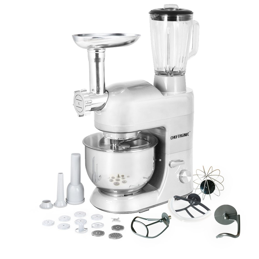 CHEFTRONIC Stand Mixer Tilt-Head 120V/650W Electric Stand Mixer with 5.5QT Stainless Bowl, 6 Speed Multifunctional Kitchen Mixer, Meat grinder, Sausage stuffer, pasta dies and Juice Blender