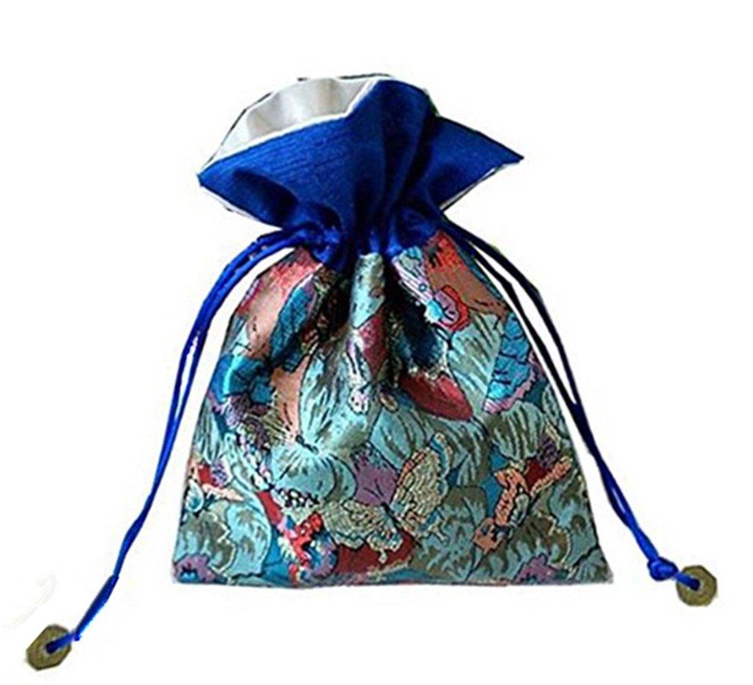 4Pcs/set Silk Brocade Fengshui Jewelry Bag Double Layer Drawstring Purse Gift Bag