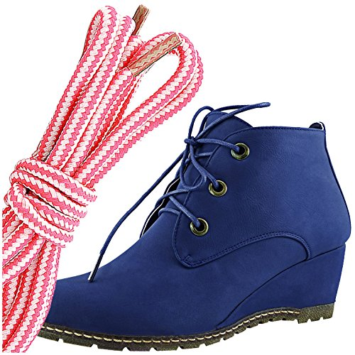 Dailyshoes Damesmode Vetersluiting Ronde Neus Enkelhoge Oxford Sleehaksschoen, Roze Wit Blauw Pu