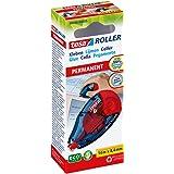 tesa Roller Kleben Permanent ecoLogo / Nachfüllbarer Kleberoller ohne Lösungsmittel - mit doppelseitigem & extra starkem Klebefilm