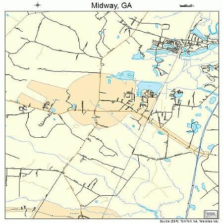 Amazon Com Large Street Road Map Of Midway Georgia Ga