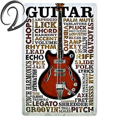 Qinddoo 2 Piezas Música Guitarra Metal Cartel de Chapa ...