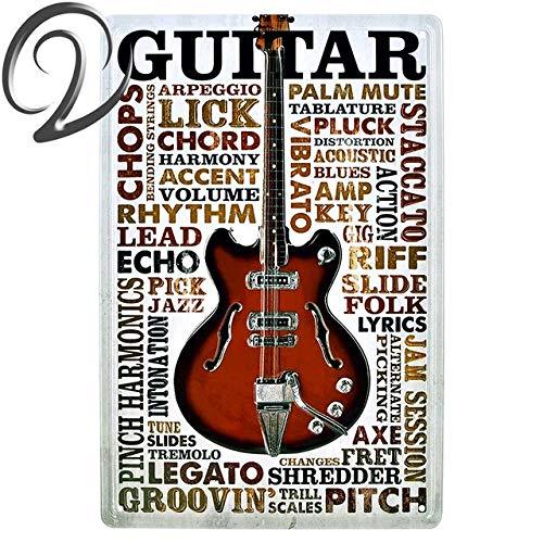 Qinddoo 2 Piezas Música Guitarra Metal Cartel de Chapa Carteles de ...