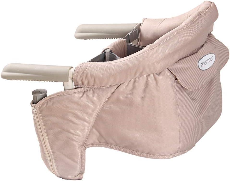 GQQ Chaise, Chaise À Crochet Portable Easy Dinner, Clip de Rangement Plat Pliant Sur La Table Coussin de Siège Amovible de Chaise Haute (6 Mois À 2 Ans),Beige Beige