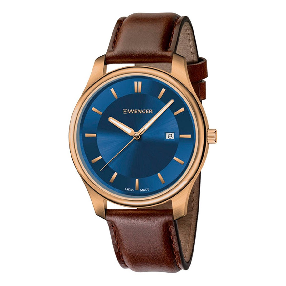 Wenger 01.1441.119 Men's City Classic Blue Dial Brown Leather Strap Watch