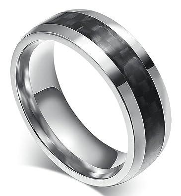Herren Edelstahl Gravur Ringe Carbon Faser Hochzeit Band Schwarz