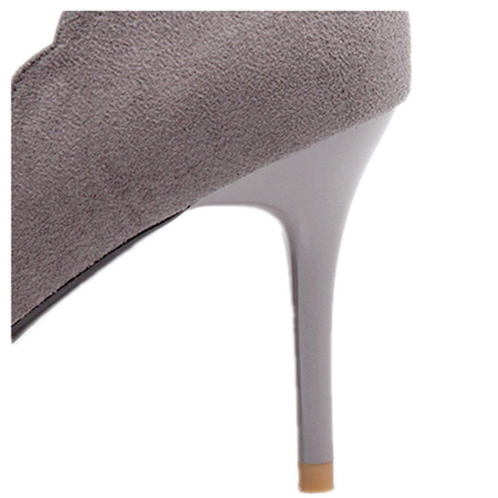 Bbdsj Frauen High Heels Sexy Fashion Spitzen Heels 8cm Spitzen Fashion Fersen Herbst Und Winter Wildleder High Heels Profi damen Schuhe.grau Heels. e12499