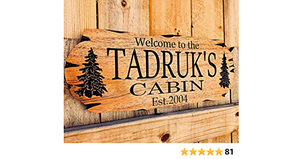 Real Wood Not Canvas Family Cabin Sign Last Name Sign Welcome To Our Cabin Sign Cabin Welcome Sign Framed Personalized Art