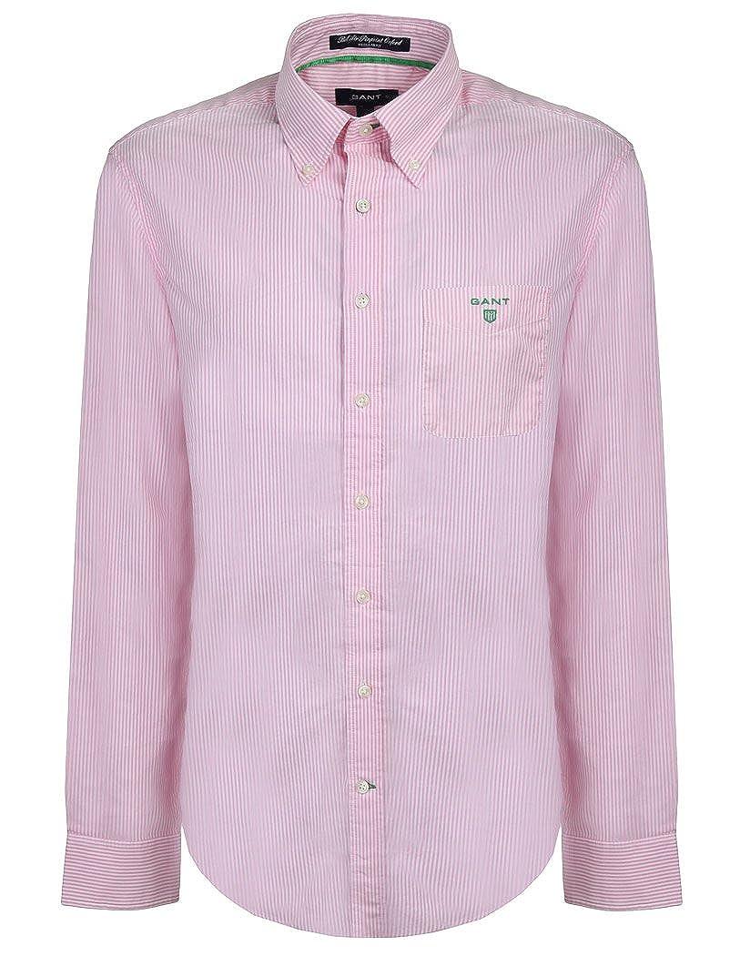 c36c65ec Gant Men's Bel Air Pinstripe Oxford Banker Shirt - Raw Pink: Amazon.co.uk:  Clothing