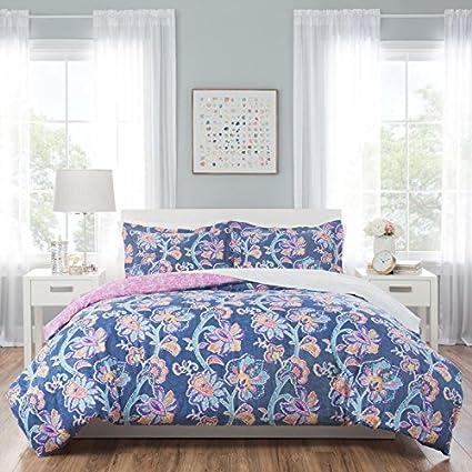Amazoncom Nicole Miller Aurora Bedding Ensemble Blue Pink Gold