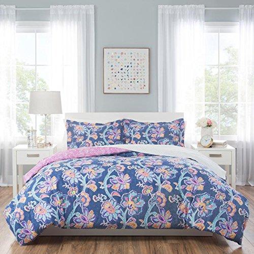 Nicole Miller Aurora Queen Comforter Sets, Blue/Pink (Comforter Aurora)
