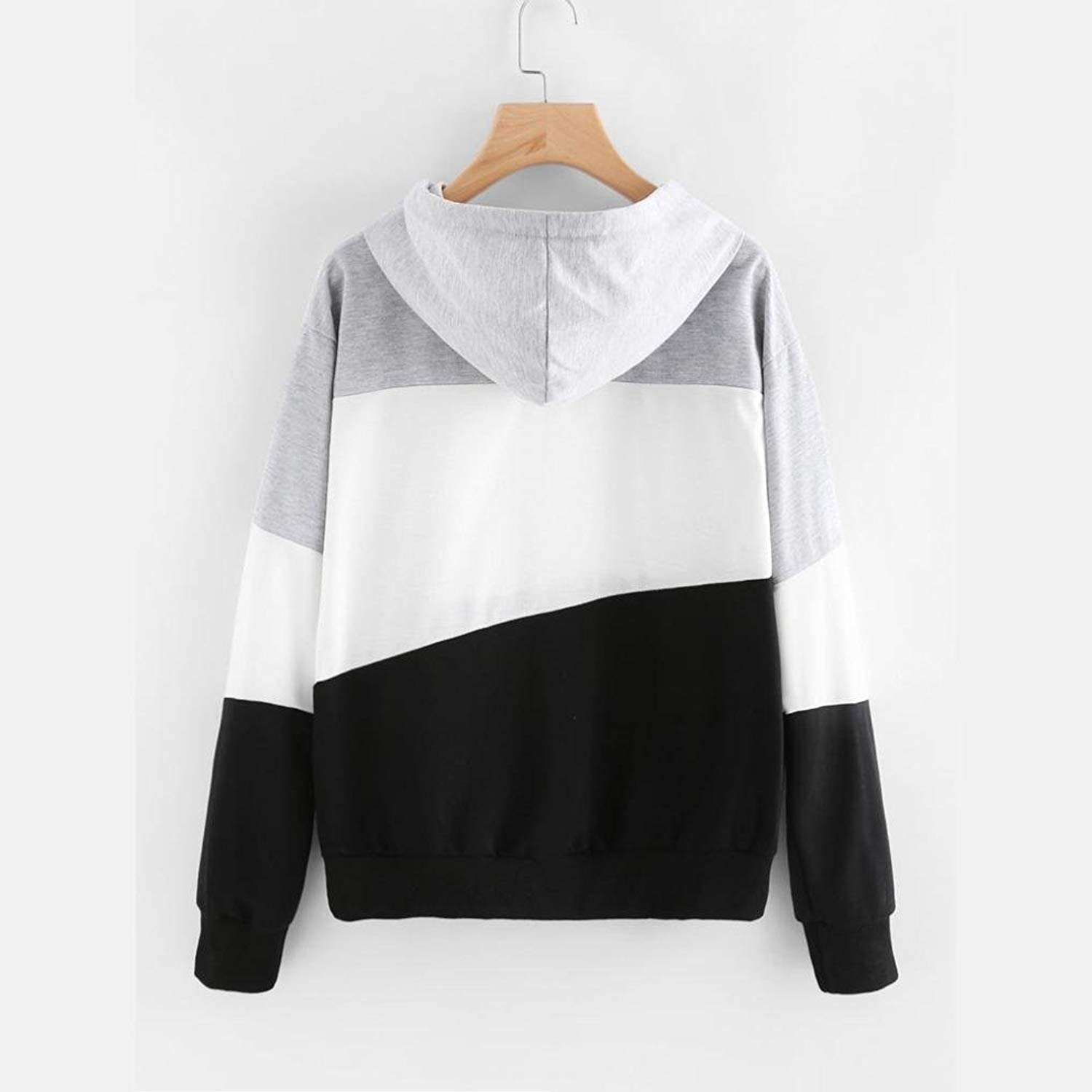 Lananas-Women Hoodies Long Sleeve Grey White Black Color Patchwork Sweatshirts Tops Blouse Pullover at Amazon Womens Clothing store: