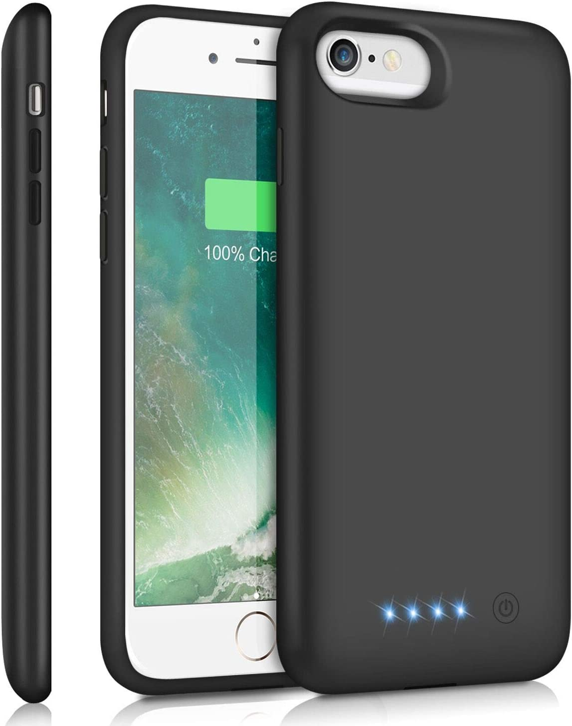 ABOE Battery Case for iPhone 8/7/6s/6/SE(2020), [6000mAh] Upgraded Charging Case Rechargeable Battery Pack for iPhone 8/7 Portable Charger case for iPhone 6S/6 /SE(2020)(4.7 inch)-[Black]