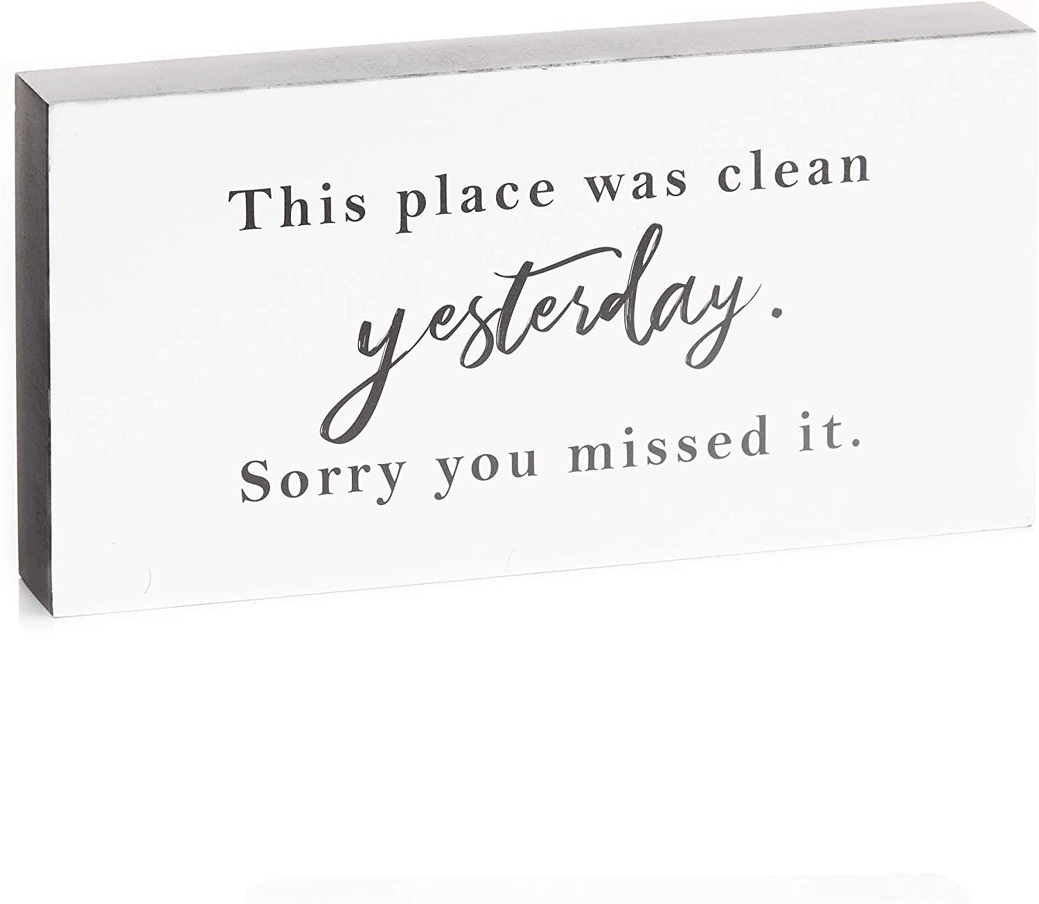 ReLIVE Decorative Expressions 5 x 10 Inch Wooden Box Sign - Clean Yesterday