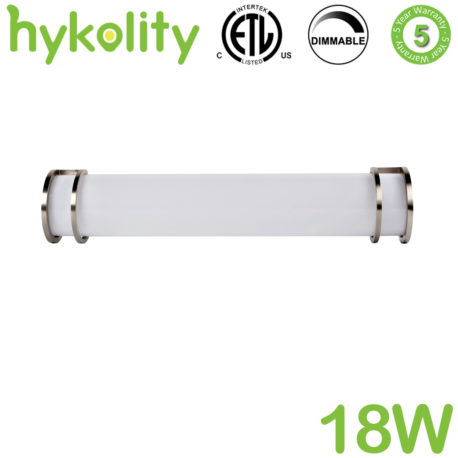 Hykolity 24 inch 18W Integrated LED Linear Vanity Light Bar, Bathroom Wall Sconce Lighting Fixture Brush Nickel Dimmable (Equal to Three 40-watt Incandescent Bulbs) ETL Listed