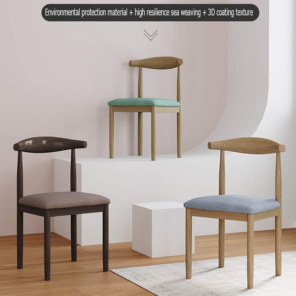 ZWJLIZI vadderad matrumsstol, nordisk minimalistisk skrivbord och stol med ryggstöd, hushållsmitt smidesjärn nötsträd horn stol (färg: H) B
