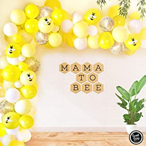 Sweet Baby Co. Lemon Bumble Bee Baby Shower Decor Decorations with Honey Yellow Balloon Garland Arch Kit, Mama to Bee Banner, Bumblebee Themed Gender Reveal Party Supplies Bee Day Theme Decoration