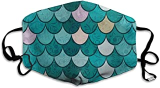 Unisex Mermaid Fish Scales Graphic Art Anti Dust Mouth-Muffle Masks Mouth Face Mask