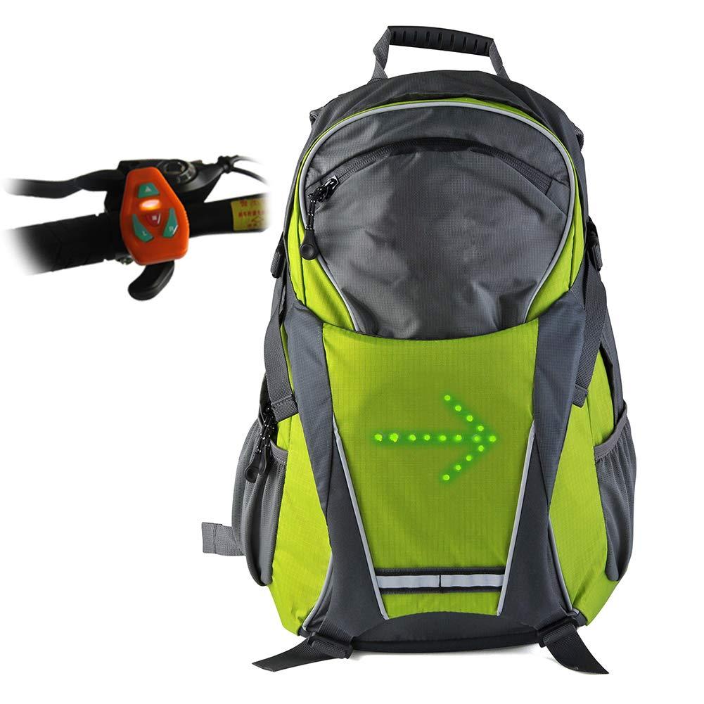 AK-BAG Fahrrad Radfahren Schulter Rucksack mit LED Signalanzeige, LED Drahtlose Fernbedienung Sicherheit Blinker Licht Rucksack, Outdoor Wasserdicht Sportrucksack Fü r Damen Herren - 18L,Green