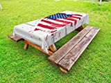 Lunarable Americana Outdoor Tablecloth, USA Flag in Heart Shape on Wood Holiday Splattered Grunge Style Illustration, Decorative Washable Picnic Table Cloth, 58 X 120 inches, Cream Red Blue