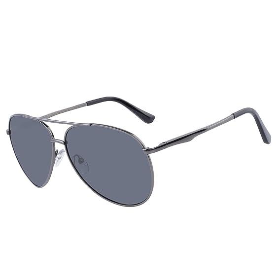 Sonnenbrille Herren Pilotenbrille Polarisiert UV Schutz Aviator Brille mit Metallrahmen Grau qffGSnKK