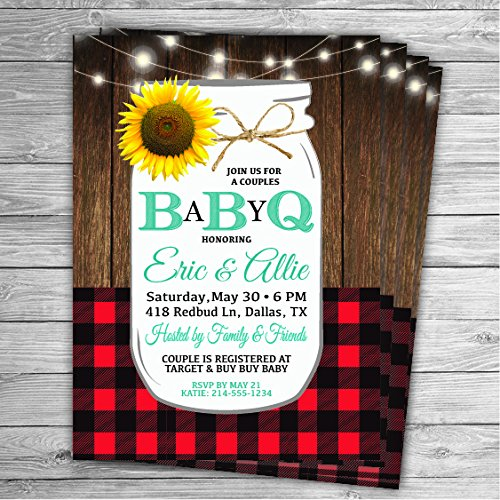5x7 BABYQ BABY Shower Invitations...Can be customized for Any Event/Any Color....Graduation, Baby Shower, Bridal Shower, Barbecue, Boots, Sunflowers, Rustic, Country