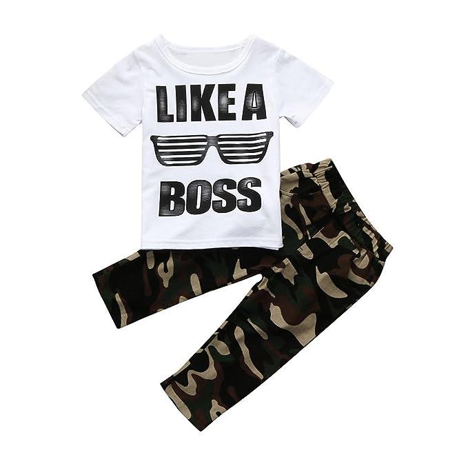 Hoplsen 2 PCs Niños Bebé Carta Camiseta Tops + Camuflaje Pantalones Moda Blusa Camiseta Fresco Primavera