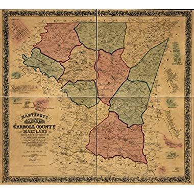Map Poster - Martenet's Map of Carroll County Maryland : entirely from actual surveys / 24 X 22
