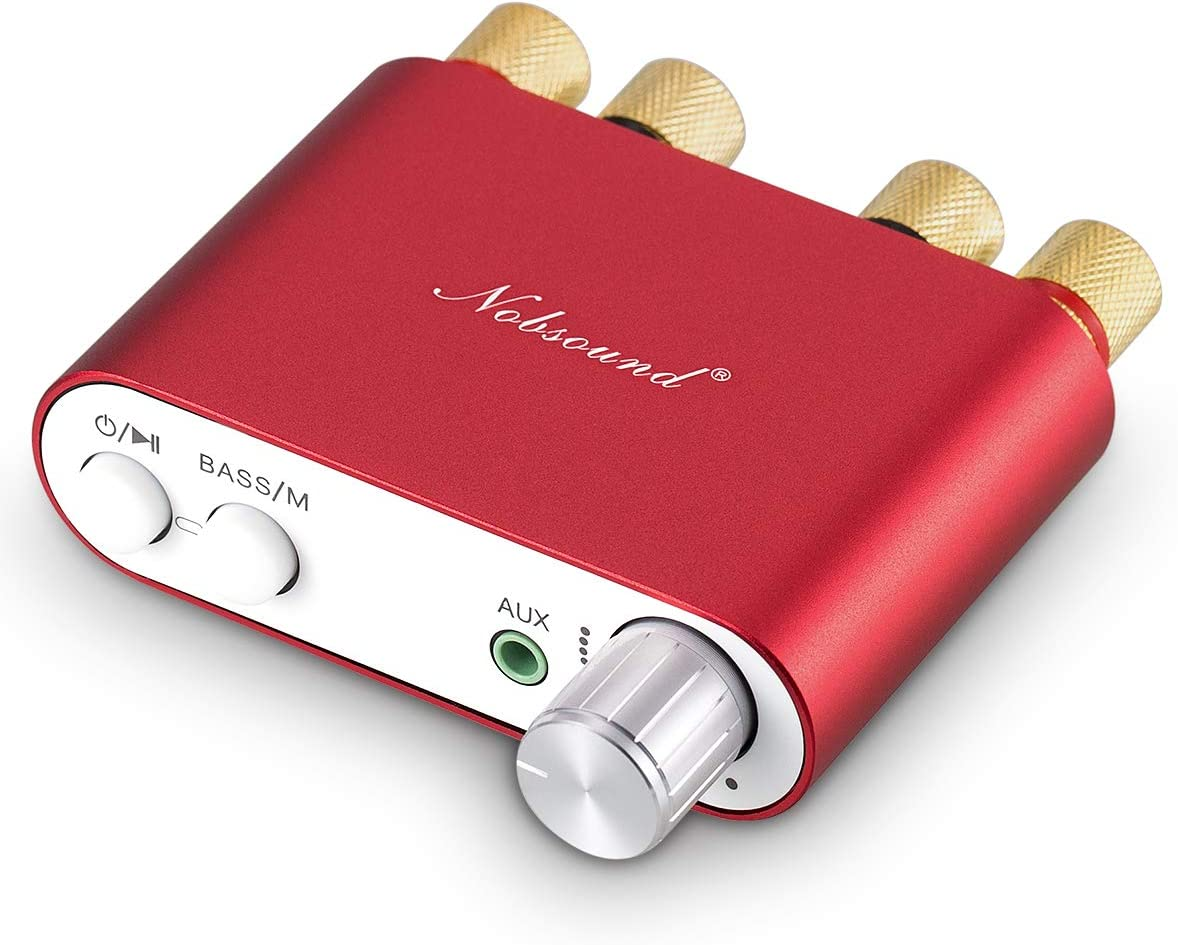 Nobsound NS-10G Mini Bluetooth 5.0 Digital Amplifier 100W HiFi Amp with Power Supply (Red)