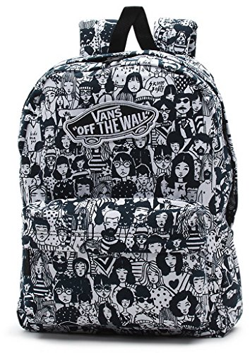 eed4dfd607 Vans womens Realm Backpack VN-0NZ0J1K - Black White Faces ...