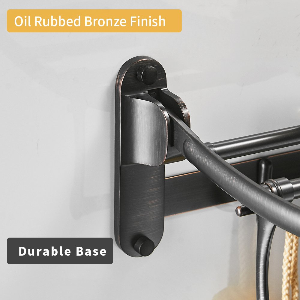 BESy Oil Rubbed Bronze Towel Racks, Bathroom Towel Shelf with Foldable Towel Bar Holder and Towel Hooks, Wall Mounted Multifunctional Double Towel Bars by BESy (Image #2)
