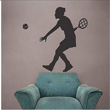 Mujer jugador de tenis silueta tatuajes de pared Mural deporte ...