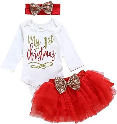 Tenue Noel Bebe Elyseeseny Deguisement Noel Bebe Fille 0 3 6 9 12 18 24 Mois | 3PC